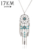 17KM stile indiano Hot New Dream Catcher Collana tubo collare blu pietra nappa collana di perline bijoux per le donne