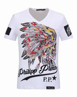Wholesale Diamond V Slim - Luxury mens V-Neck Polo tshirts with Colorful Feathers Skulls & Diamond 3D Printed t shirts cheap price Short Sleeve Mens Jacket 18253