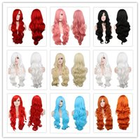 Wholesale Long Curly Blonde Pink Wigs - Long Wavy Cosplay Black Purple White Red Pink Blue Blonde Orange Sliver Gray 80 Cm Synthetic Hair Wigs