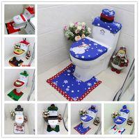 Wholesale Toilet Ornaments - Happy New Year 3Pcs set Christmas Decoration For Home Santa Toilet Seat Cover & Rug Bathroom Frozen Santa Claus Christmas Ornament
