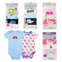 Wholesale pink romper suit for sale - Group buy Factory Directly Baby Rompers Body Suit Baby One Piece Rompers Short Sleeve Romper Onesies Cotton Baby Clothing m