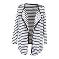 Wholesale Wholesale Peplum Long Sleeve Top - Wholesale-Women Autumn Fashion Long Sleeve Striped Pattern Peplum Casual Tops Cardigan Blouse Jacket Coat Ruffles Coats