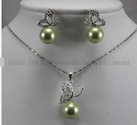 Wholesale Sea Green Necklace - 12MM Apple Green South sea Shell Pearl Earrings & Necklace Pendant Set