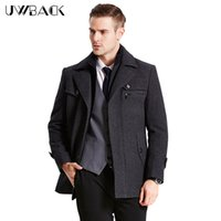 Wholesale Trench Coat Warm Liner - Wholesale- Uwback 2017 New Brand Winter Long Trench Coat Men Plus Size 4XL Wool Warm Long Coat Homme Thick Liner Overcoat 4 Colors CAA147