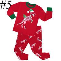 Wholesale Girls Woolen Suits - XMAS kids christmas sleepwear children clothing boys suits girls cotton deer stripe tops pants pajamas santas little helper sleepwear sets