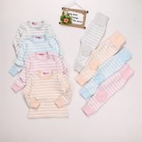 Wholesale cotton pajamas resale online - Warm Cotton Autumn Winter Pajamas Children s Underwear Suit Long Sleeve Shirt and Pants Kids Striped Sleeping Wear Clothes