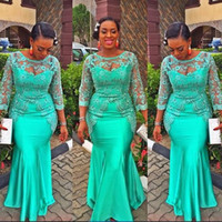 Wholesale Turquoise Dresses Straps - Turquoise African Mermaid Evening Dress 2017 Vintage Lace Nigeria Long Sleeve Prom Dresses Aso Ebi Style Evening Party Gowns