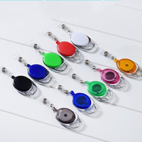 Wholesale Retractable Key Clip - Round Retractable Key Chain Work Articles Identity Documents Clip Anti Lost Easy Pull Buckle Chest Rope Colourful 1 6lx C R