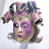 Wholesale Bell Full Face - Hand Painted Full Face Venetian Vintage Masquerade Wall Mask Carnival Costume Mask w   Bells Mardi Gras One Size Fits Most V230