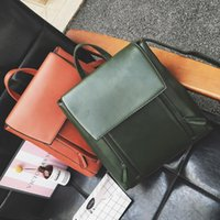 Wholesale Trend Girls Bag - New women PU Leather Backpacks fold simple design girl student school bag fashion trend shoulders bag backpack