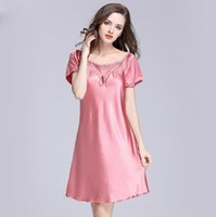 Wholesale Short Pyjamas Women - Satin Nightshirts For Women Ladies imitate silk fabric Sleeping Dress female Nightdress Sleepwear Pijama Pyjama Nightwear