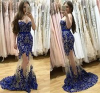 Wholesale Evening Dresses Crystal Tulle Transparent - Royal blue Mermaid Prom Dresses 2017 Sweetheart Transparent Skirts Evening Dresses with Lace Appliques and Crystal Formal Evening Gowns