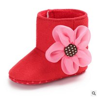 Wholesale Leopard Baby Girl Boots - Christmas toddler boots baby girl stereo flowers applique princess dress shoes newborn kid leopard grain soft bottom winter snow boots T0572