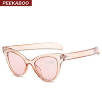 Wholesale Cheap Retro Cat Eye Sunglasses - Wholesale-Peekaboo New 2016 fashion mirror cat eye sunglasses women CHEAP retro sexy transparent frame sunglasses ladies clear pink PARTY