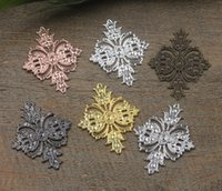 Wholesale Filigree Gold Jewelry - 07400 23*30mm antique bronze silver rose gold gun black filigree flower charms for jewelry making, bulk metal necklace pendant for bracelet