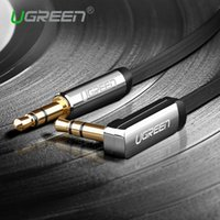 Wholesale Angle Speakers - Ugreen 3.5mm audio cable 90 degree right angle flat jack 3.5 mm aux cable for iPhone car headphone speaker aux cord MP3 4