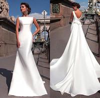arkaiksiz dreses toptan satış-Büyüleyici Zarif Saten Düğün Dreses Uzun Tren Ile Ucuz Backless vestidos de novia Draped Gelinlikler