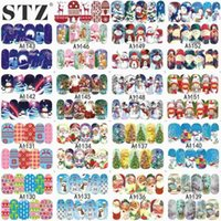 Wholesale nail art foil sheets - STZ Single 1 Sheets Xmas Christmas 2016 Water Transfer Sticker Nail Art Full Foils Wraps for Christmas DIY Decals A1129-1152
