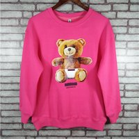 Wholesale Pink Color Bear - 2017 Autumn spring Women Fashion printed bear hoodie Long Sleeve Tops sweatshirts Lady Female Femme pink Sweatshirt