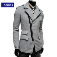 косая куртка оптовых-Wholesale-  Men's Clothing 2016 Winter Trend Irregular Overcoat Oblique Zipper Pocket Lapel Men Wool Coat 4 Colors Medium Long Jacket