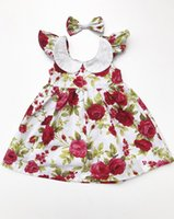 Wholesale Lace Ruffle Hair Flower - 2017 Summer New Girl Dress Lace Collar Rose Flower Print Sleeveless Dress+Bow Hair Clip Children Clothing 0-4Y SH007