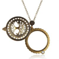 Wholesale Magnifying Glass Gold - Wholesale Antique Design Tree Of Life Hollow Circle Glass Cabochon Domed Magnifying Glass Necklace Gold Plated Link Chain Fashion Jewelry