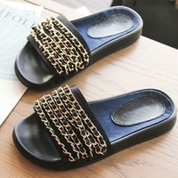 Wholesale metal shoe soles - 2017, the new big brand, European and American Style Slippers, women's shoes, metal chain decoration, soft soles, comfortable fashion trends