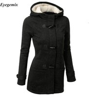 Wholesale Women S Hooded Fleece Coat - Winter Coat Women 2017 New Fashion Women Wool Blends Slim Hooded Collar Zipper Horn Button Long Coats Outerwear Special Button