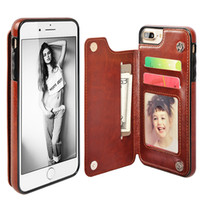 Wholesale Leather Id Flip Iphone Case - For iPhone 7 Folio Wallet Case Slim PU Leather Flip Cover Card Slots ID Window Absorbing Protective TPU Bumper For iphone 6 6S