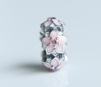 Other original quality blossoms - high quality Sterling Silver Peach blossom flower Spacer Charm Beads Fit Original Pandora Bracelet Authentic fine gift for women