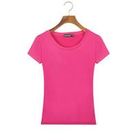 Wholesale Cheap Harajuku Clothing - Wholesale- 2017 Summer Style Women Basic T Shirt Slim Fit Cotton Crew Neck Short Sleeve Casual T-Shirt Tops China Cheap Clothes Harajuku