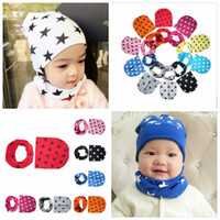 Wholesale Toddler Christmas Scarf - 2pcs set baby hat + Scarf Winter Autumn kids Beanie Cap Cotton star Children toddlers hats for 0-3 years baby 10 colors YYA295
