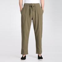 ropa tai chi xxl al por mayor-Al por mayor-Ejército Verde de los hombres chinos Kung Fu Tai Chi pantalones Primavera Verano algodón Pantalones de lino Wu Shu Ropa S M L XL XXL XXXL 2606