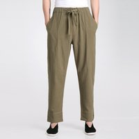 Wholesale tai chi clothing cotton - Wholesale- Army Green Chinese Men's Kung Fu Tai Chi Pants Spring Summer Cotton Linen Trousers Wu Shu Clothing S M L XL XXL XXXL 2606