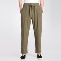 одежда tai chi xxl оптовых-Wholesale- Army Green Chinese Men's  Tai Chi Pants Spring Summer Cotton Linen Trousers Wu Shu Clothing S M L XL XXL XXXL 2606