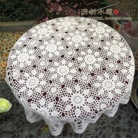 Wholesale Cotton Square Crochet Tablecloth - New arrival best selling cotton crochet lace tablecloth with flower for home decoration as vintage table cover for sale
