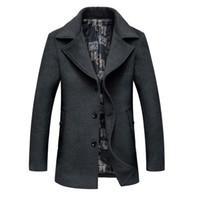 Wholesale Mens Overcoat Spring - Wholesale- Men's Wool Jackets Overcoat Plus Size 6XL Spring Autumn Brand Men Manteau Homme Woolen Jackets And Coats Mens Warm Wool Overcoat