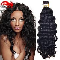 Wholesale Remy Human Braiding Hair - Top Quality Mongolian Deep Curly Wave Hair Bulk Human Remy Hair For Braiding Afro Deep Wave Hair Braids No Attachment 3pc lot 150gram