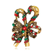 Wholesale metal christmas tree ornaments - Christmas Brooches as Gifts For Women Retro Christmas Ornaments and Accessories Christmas Decoration Rhinestone Brooch Female Bijoux 001