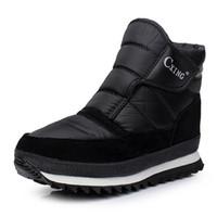 Wholesale Platform Rubber Rain Shoes - Wholesale- New snow men's rain boots for 2016 platform and waterproof warm shoes classic black color comfortable inside cotton male boot