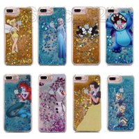 Wholesale Cartoon Mouse Cases - Quicksand case for iphone 6 Liquid Bling Glitter tpu edge phone cases for iphone 7 Stitch Frozen Mickey Mouse Snow White Cartoon Sparkle