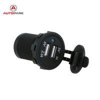 steckdose ladegerät großhandel-Großhandels-DC 5V 2.1A / 1A Dual USB Motorrad Buchse Ladegerät Netzteil Outlet Handy Ladegeräte für Auto LKW Minibus Motorräder