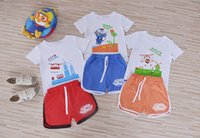 Wholesale Girls Plane T Shirt - fashion 2016 summer Super wings Children sport set t-shirts and shorts boy girl cartoon plane pattern Suits cotton clothes 2pcs