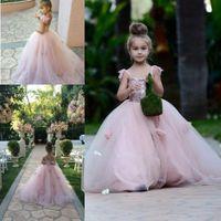 Wholesale Ball Gown Spaghetti Straps Wedding Dress - 2017 Blush Pink Flower Girls Dresses Appliques Spaghetti Straps Ball Gown Ruffles Tulle Pageant Dress for Girls Long for Wedding