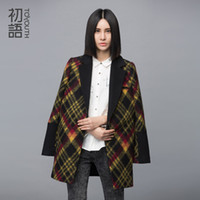 Wholesale Type Women Blazer - Winter Wool Coat Women Loose Medium Blazers Style H Type Plaid Square Collar Blends Single Breasted