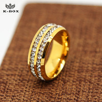 Wholesale gold 24k ring men - pretty good QUALITY 316L Stainless Steel 24K Gold Plated 8mm Band Ring Men Women AAA CZ Inlay Wedding Engagement men jewerly