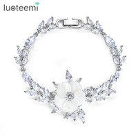 Wholesale Set Sea Fishing - LUOTEEMI Romatic Delicate Bracelet Setting Clear Zirconia with Sea Shell Flower Lovely Gift for Girlfriend Birthday Christmas