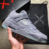 Wholesale Blue 4s - (WithBox) KAWS x Air Retro 4 4s XX Kaws Cool Grey White Glow Men Basketball Shoes retro 4s White Blue black sports sneakers