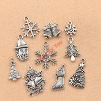 Wholesale Tibetan Silver Boot Charms - Wholesale-Mixed Tibetan Silver Plated Christmas Santa Claus Boot Snowflake Charms Pendants Jewelry Making Accessories Diy Jewelry Findings