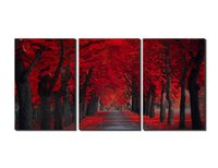 Wholesale Large Red Modern Wall Art - Peace Large Modern 3 Panels Red Forest Landscape Giclee Canvas Print Wall Art Work to Hang For Living Room Kitchen Home